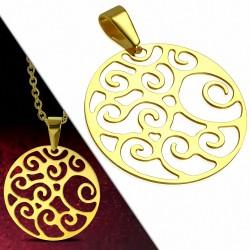 Pendentif cercle en acier doré avec motif filigrane