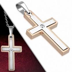 Pendentif croix latine en acier inoxydable contour or rosé avec strass
