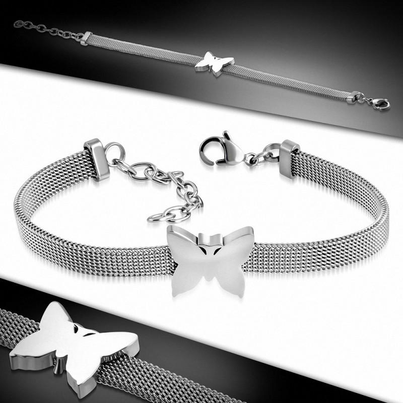 Bracelet en acier inoxydable aspect maille avec un papillon