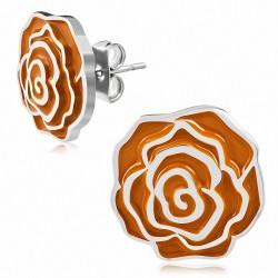 Paire de boucles d'oreilles clous en acier argenté avec fleur orange