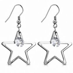 Paire de boucles d'oreilles pendantes en forme d'étoiles avec strass