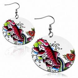 Paire de boucles d'oreilles pendantes disque motif peint poisson