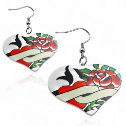 Paire de boucles d'oreilles pendantes cœur peint rose cœur fleur de vigne