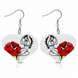 Paire de boucles d'oreilles pendantes cœur peint femme rose rouge