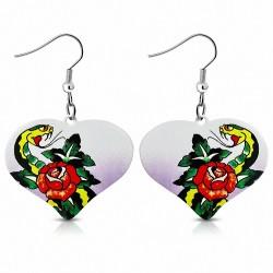 Paire de boucles d'oreilles pendantes cœur peint rose serpent chinois biker