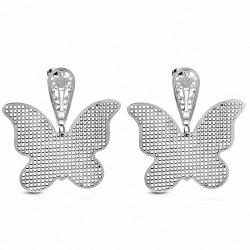 Paire de boucles d'oreilles clous avec papillons motif filigrane