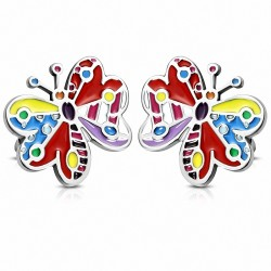 Paire de boucles d'oreilles clous en acier avec émail multicolore papillon