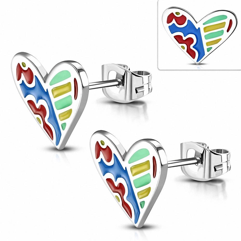 Paire de boucles d'oreilles clous en acier avec émail multicolore cœur