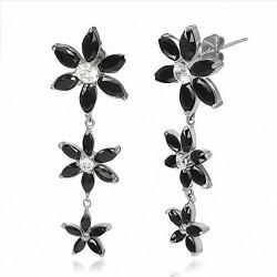 Paire de boucles d'oreilles clous en acier avec fleurs noires pendantes