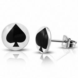Paire de boucles d'oreilles hommes en acier motif pique noir
