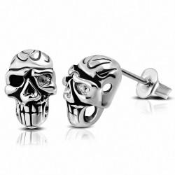 Paire de boucles d'oreilles hommes en acier biker crâne