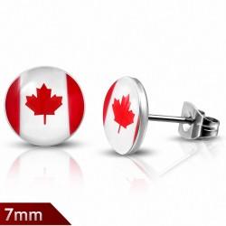 Paire de boucles d'oreilles clous en acier drapeau canada