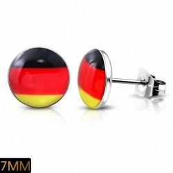 Paire de boucles d'oreilles clous en acier drapeau Allemagne