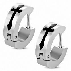 Paire de boucles d'oreilles anneaux en acier croix médievale