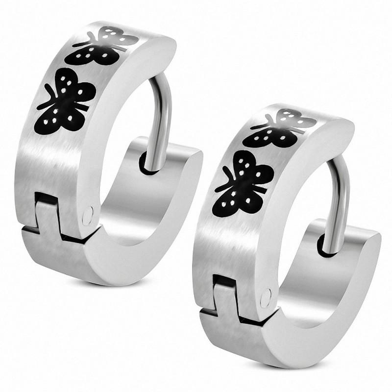 Paire de boucles d'oreilles anneaux en acier papillons