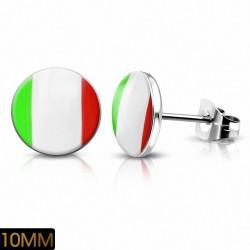 Paire de boucles d'oreilles clous en acier drapeau Italie