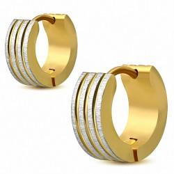 Paire de boucles d'oreilles anneaux en acier doré rainures finition satinée