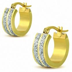 Paire de boucles d'oreilles anneaux acier doré lignes poussières d'étoiles