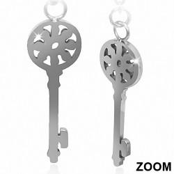 Paire de boucles d'oreilles clous en acier pendantes avec clé florale