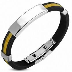 Bracelet homme caoutchouc noir et jaune avec plaque acier gravable