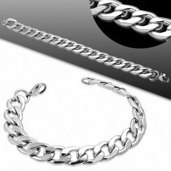 20cm x 11.5mm  Bracelet à maillons cubains à maillons plats à fermoir mousqueton en acier inoxydable