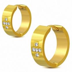 7mm |Boucles d'oreilles Huggie en forme de croix grecque en acier inoxydable plaqué en couleur d'or avec CZ transparent (paire)