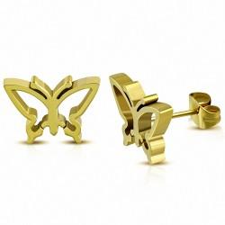 Boucles d'oreilles papillon en acier inoxydable plaqué en couleur d'or (paire)