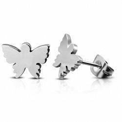 Boucles d'oreilles clous papillon acier inoxydable (paire)