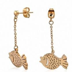 Boucles d'oreilles pendantes en forme de poisson en acier inoxydable plaqué de couleur or rose / rose (paire)