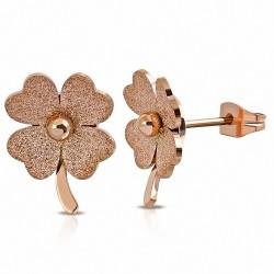 Or rose / rose Plaqué de couleur en acier inoxydable sablé Love Heart Shamrock fleur Boucles d'oreilles clous (paire)