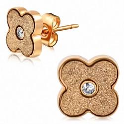 Boucles d'oreilles à fleurs sablées en acier inoxydable plaqué de couleur d'or rose / rose avec CZ transparent (paire)