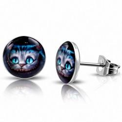 10mm |Boucles d'oreilles de chat multicolores en acier inoxydable (paire)