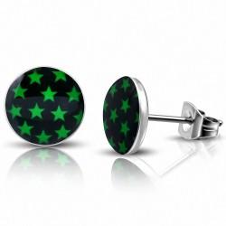 10mm |Boucles d'oreilles en acier inoxydable à 3 tons avec cercle d'étoiles vertes (paire)