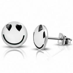 7mm  Boucles d'oreilles clous In Love Smiley / Emoticon Circle en acier inoxydable à 3 tons (paire)