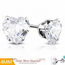 4mm |Boucles d'oreilles en forme de coeur en forme de coeur en acier inoxydable avec cœur en argent clair (paire)