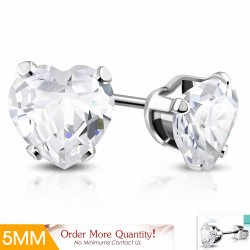 5mm |Boucles d'oreilles en forme de coeur en acier inoxydable avec cœur transparent avec paire de zircons cubiques