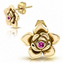 Boucles d'oreilles clous en acier inoxydable doré rose avec fleur en forme de rose avec rose CZ rose (paire)
