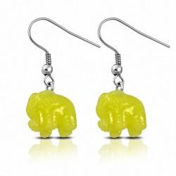 Boucles d'oreilles crochet de mollet éléphant en résine jaune en acier inoxydable (paire)