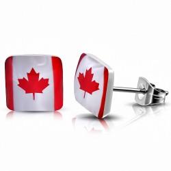 7mm |Acier Inoxydable Drapeau Du Canada carré Boucles d'oreilles clous (Paire)