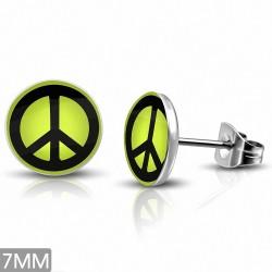 7mm |Boucles d'oreilles clous rondes à 3 tons en acier inoxydable avec signe de la paix
