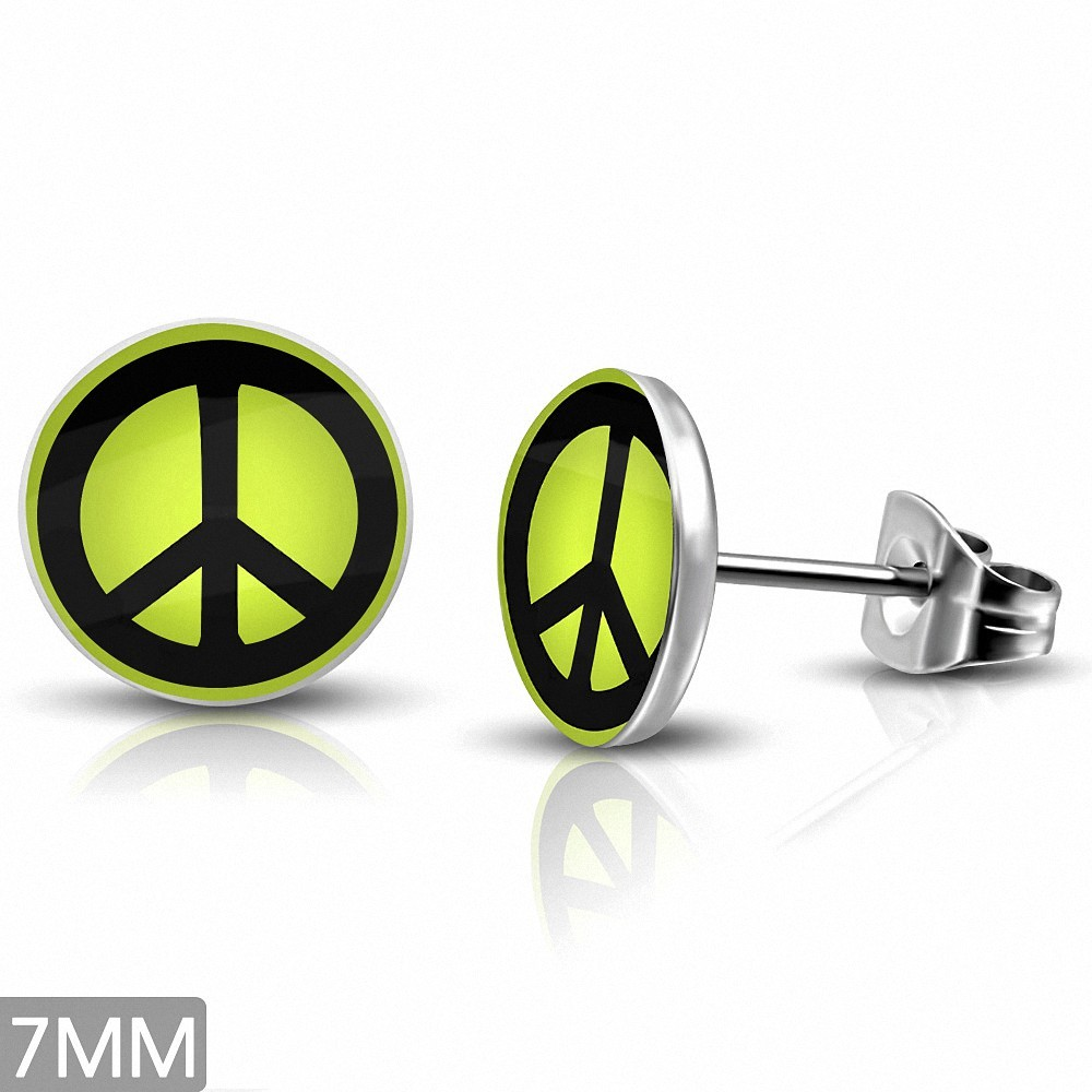 7mm  Boucles d'oreilles clous rondes à 3 tons en acier inoxydable avec signe de la paix