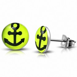 7mm |Boucles d'oreilles Ancres en acier inoxydable à trois tons de marine