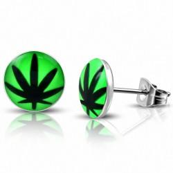 7mm |Boucles d'oreilles clous cercle Cercle Vert Feuille d'érable / Marijuana Ganja en acier inoxydable (Paire)