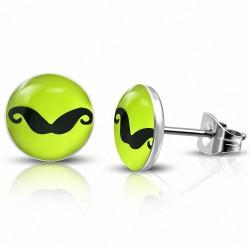 7mm |Boucles d'oreilles clous cercle en acier inoxydable à 3 tons de moustache