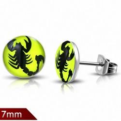 7mm |Boucles d'oreilles clous en acier inoxydable scorpion signe zodiacal avec cercle vert citron (paire)