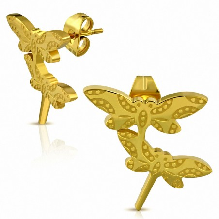 Boucles d'oreilles fantaisie libellule à double libellule en acier inoxydable doré (paire)