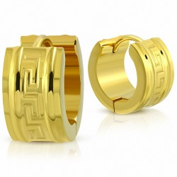 Boucles d'oreilles créoles Huggie en acier inoxydable doré avec clé grecque (paire)