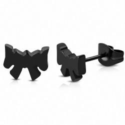 Boucles d'oreilles noeud / ruban en acier inoxydable noir (paire)