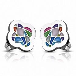 Boucles d'oreilles clous en acier inoxydable émaillées colorées (paire)