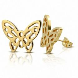 Boucles d'oreilles papillon en filigrane en acier inoxydable plaqué de couleur d'or (paire)